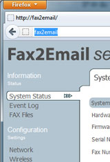 Fax2Email Web UI 1/4